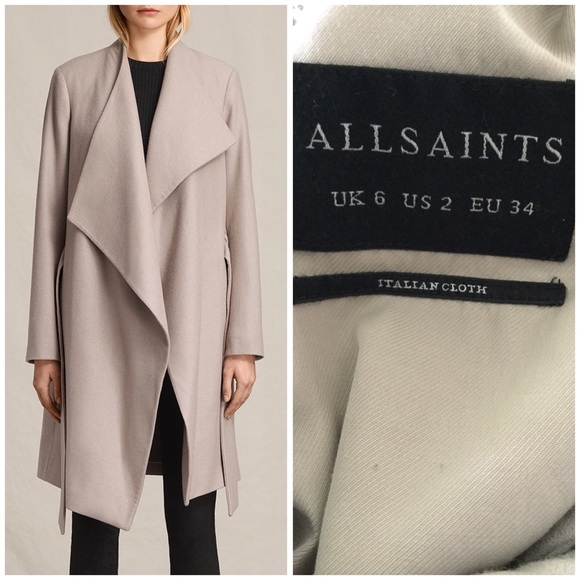 944da940a838 Allsaints Lora Coat Pebble Grey
